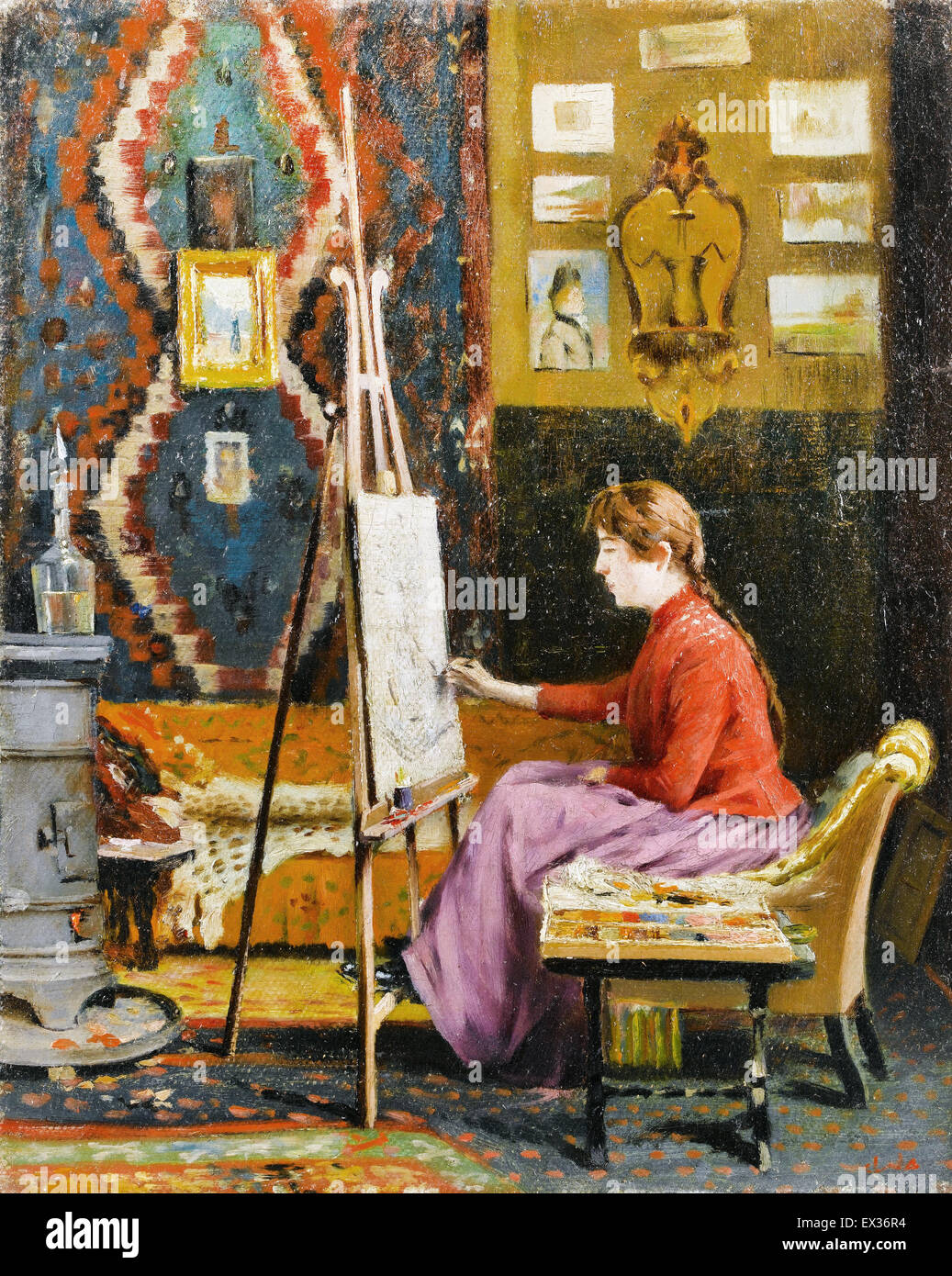 Halil Pasa, Girl Painter and Her Studio 1939 Oil on canvas. Sakip Sabanci Museum, Istanbul, Turkey. - Stock Image