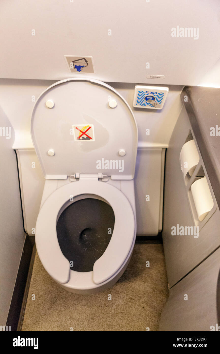 Airbus A320 airplane toilet interior - Stock Image