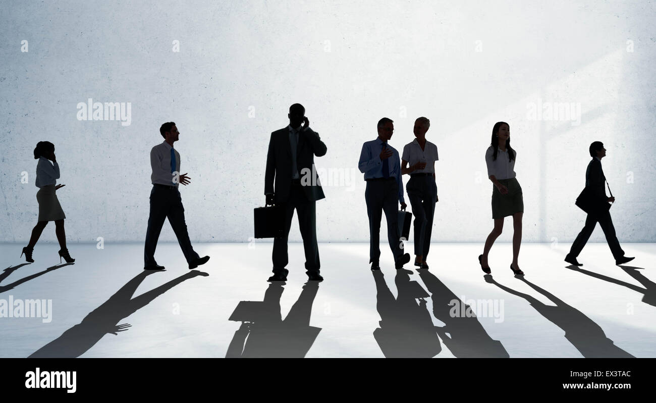 Silhouette People Global Business Cityscape Teamwork Concept - Stock Image