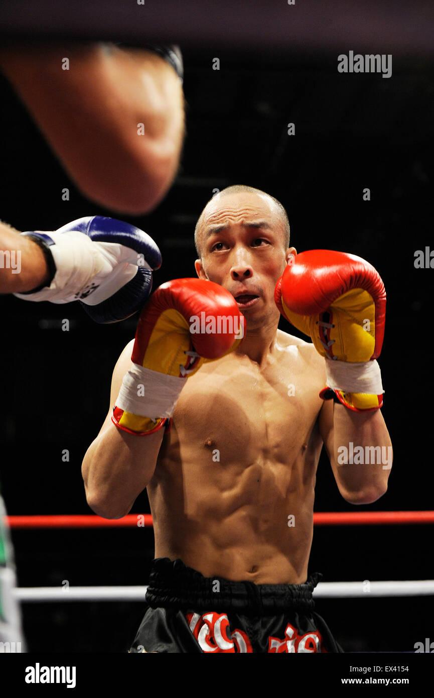 Muay Thai Kick boxing bout - Stock Image