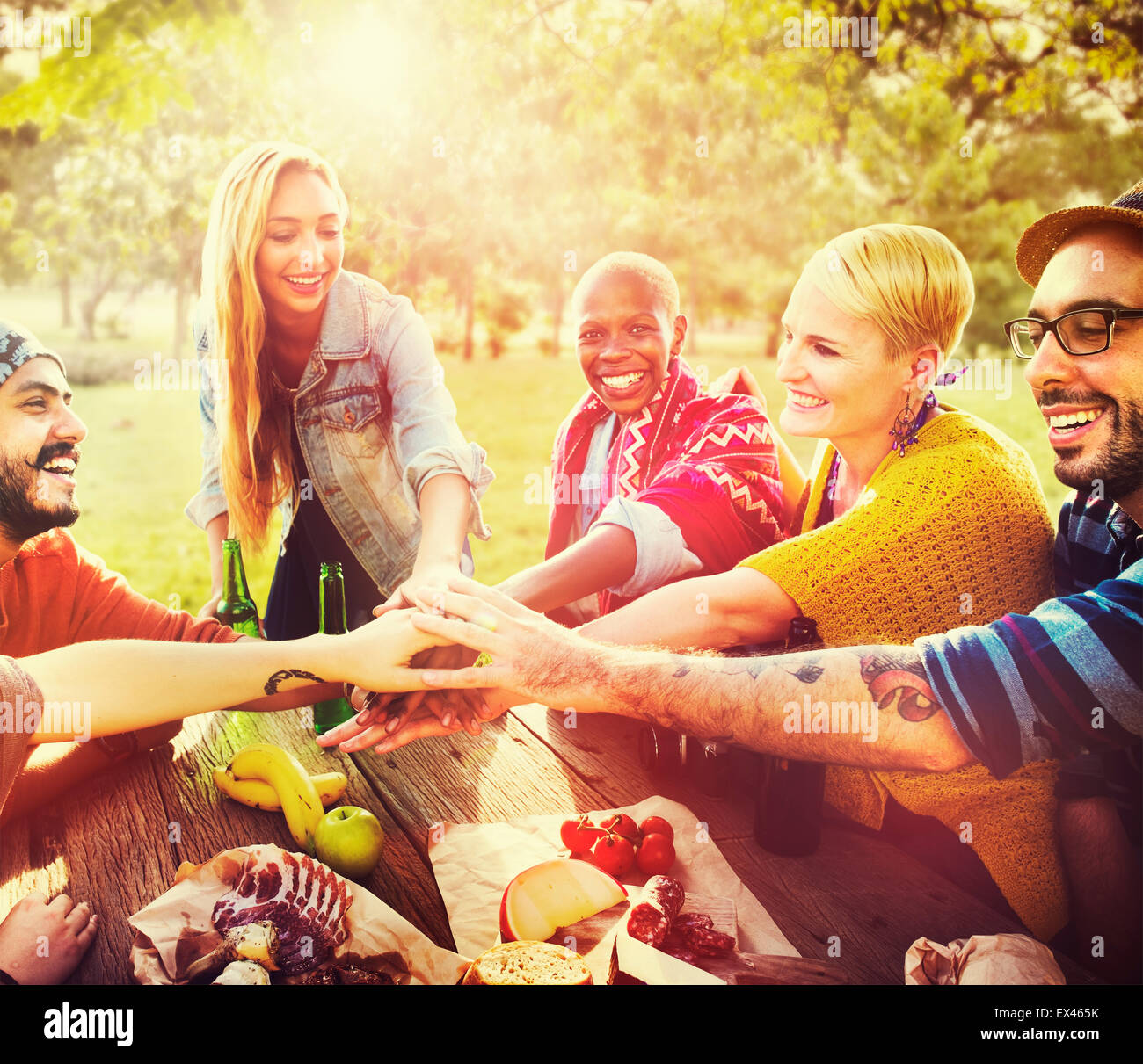 Friends Outdoors Camping Teamwork Unity Concept - Stock Image