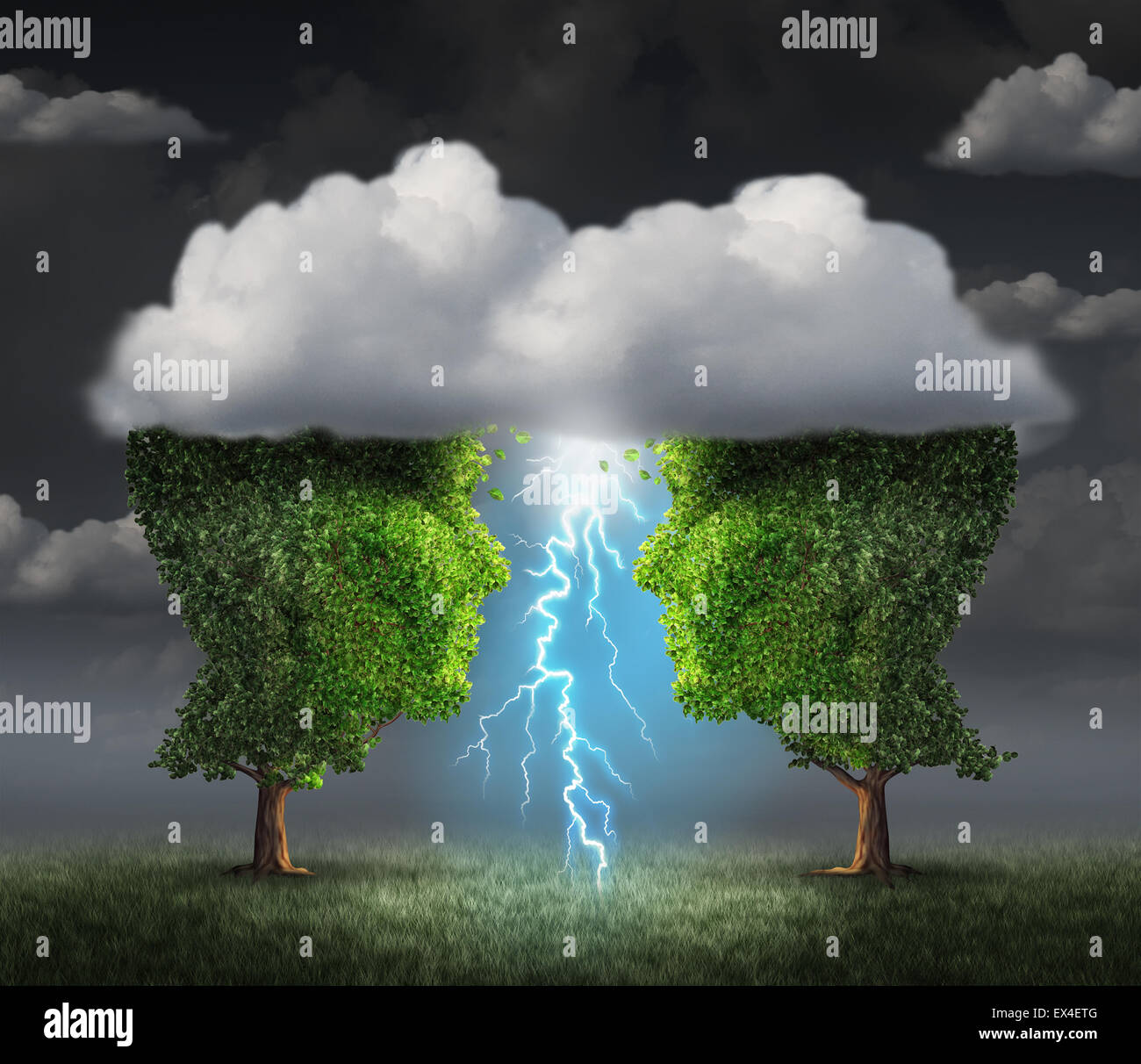 Business spark idea concept as two trees shaped as a head under a storm cloud creating a thunderbolt of lightning - Stock Image