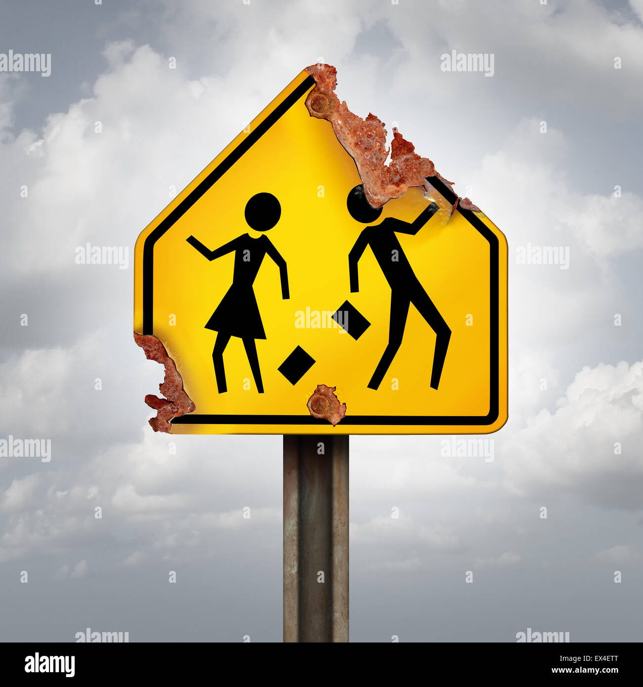 Education decline and neglected school problems concept as a rusted student crossing traffic sign as a symbol of - Stock Image