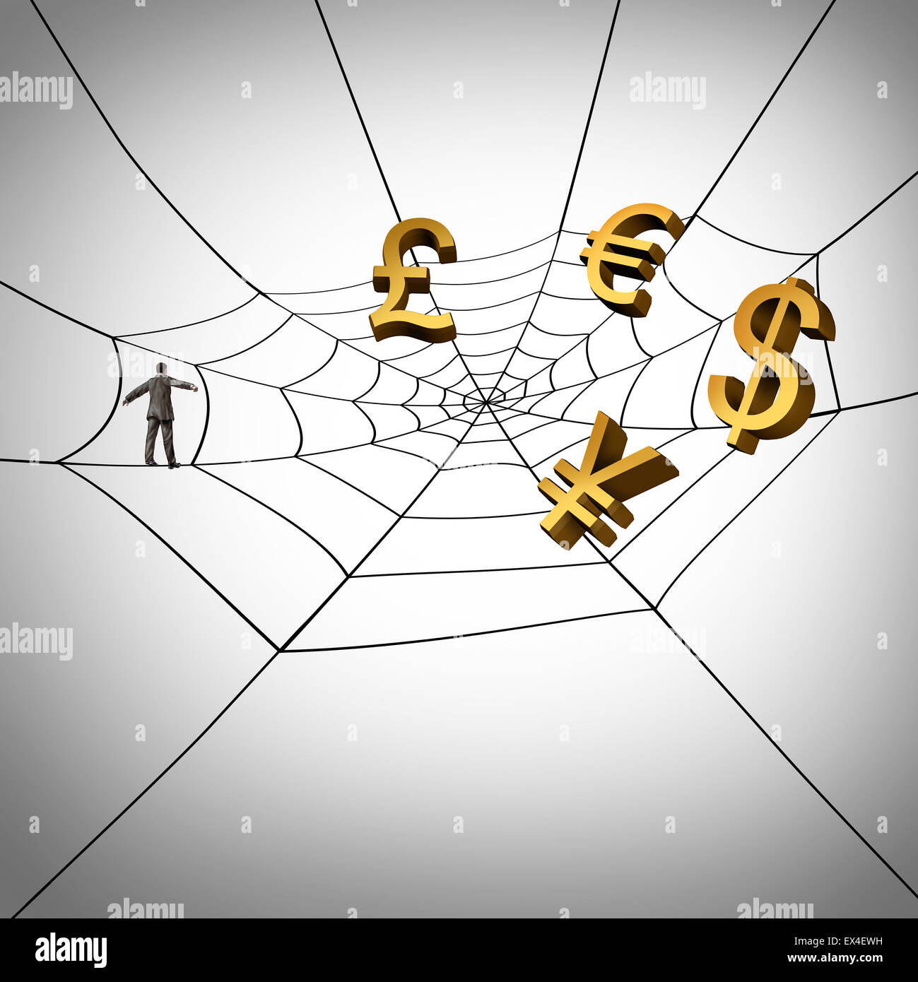 Web business concept and earning global money from the internet as a businessman walking on a spider web symbol - Stock Image