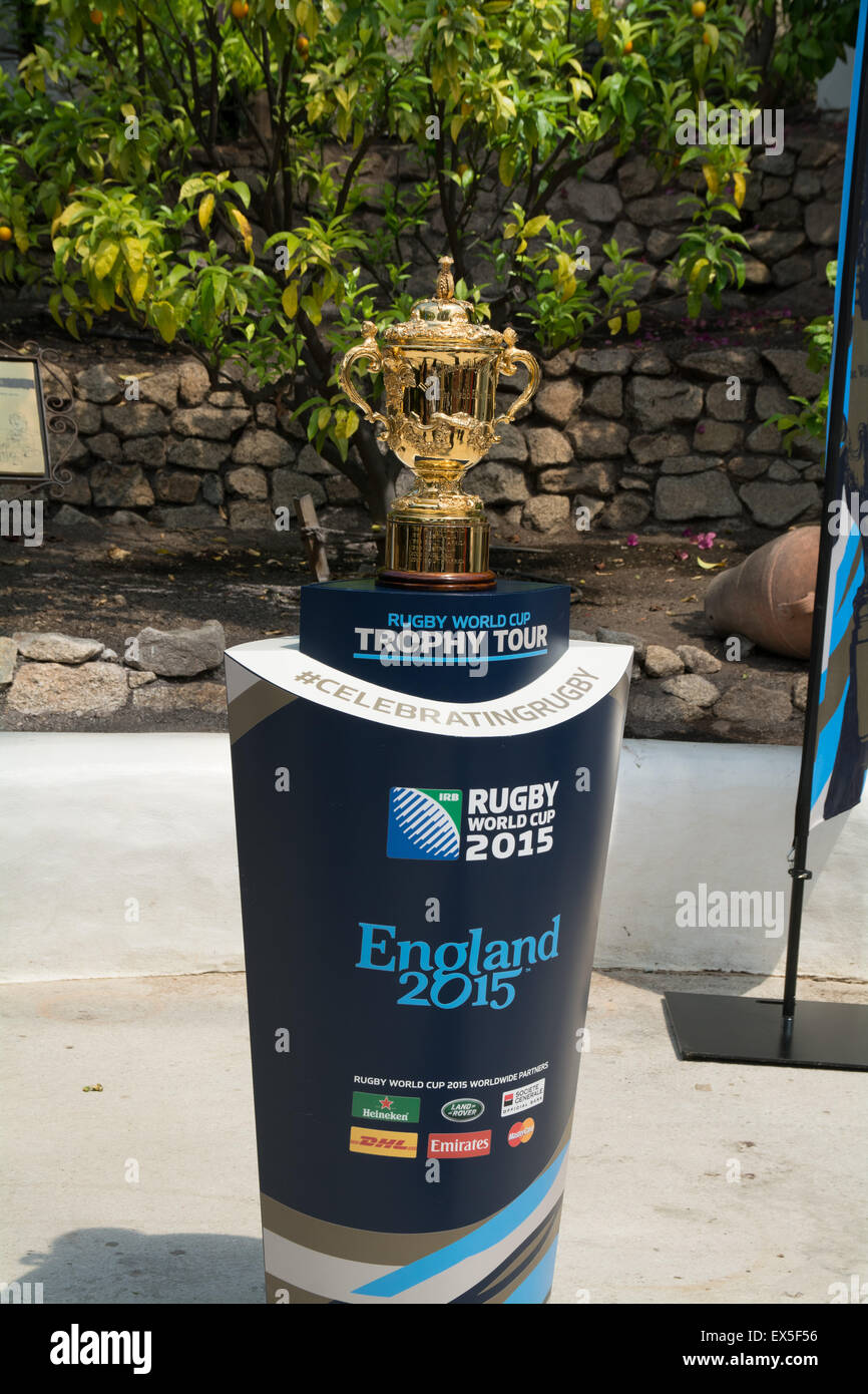 Web Ellis Rugby World cup at the Eden project - Stock Image