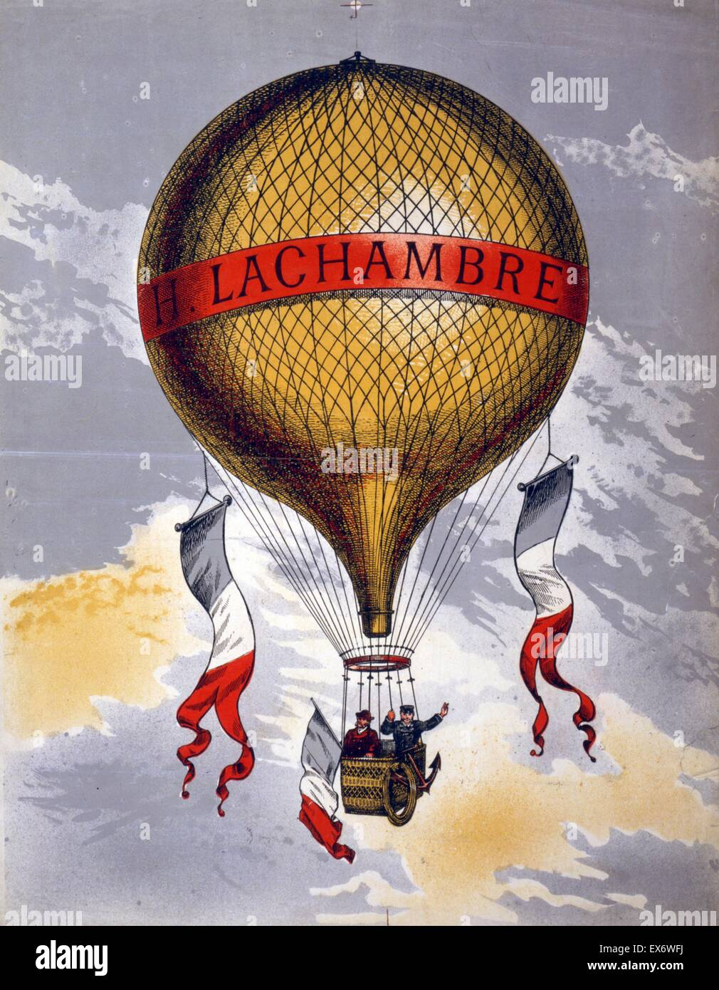 Colour lithograph advertising a balloon manufactured by the French balloon manufacturer, Henri Lachambre (1846-1904). - Stock Image