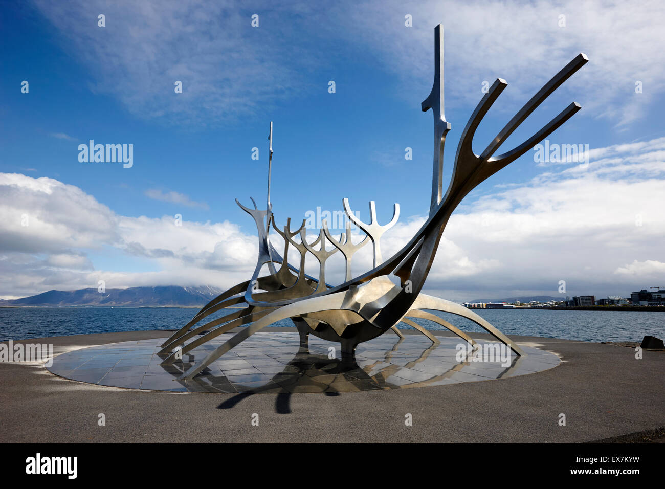 solfarid the sun voyager viking ship sculpture on Reykjavik seafront iceland - Stock Image