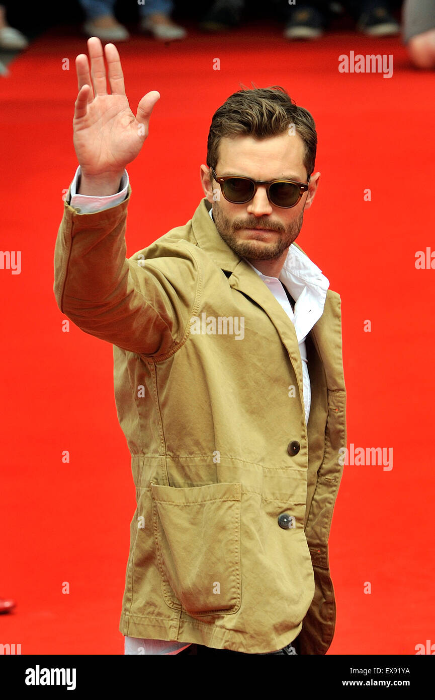 Karlovy Vary, Czech Republic. 9th July, 2015. Northern Irish actor and musician Jamie Dornan greets his fans after Stock Photo