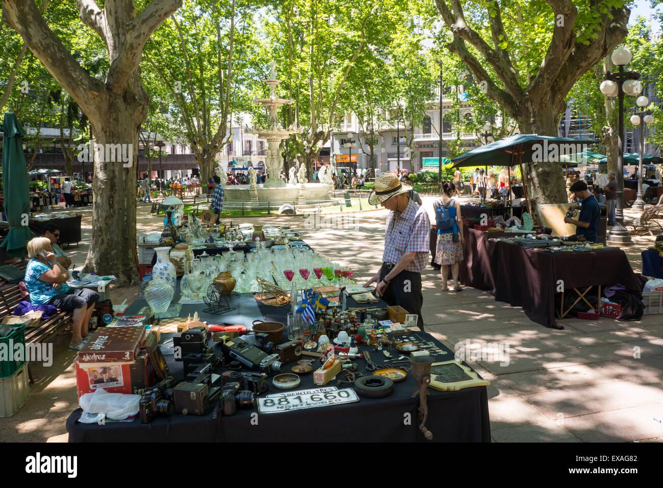 Antique market, Montevideo, Uruguay, South America - Stock Image