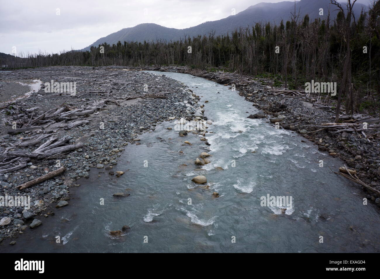 River in the Andes, destruction caused by earthquake, Patagonia, Chile, South America - Stock Image