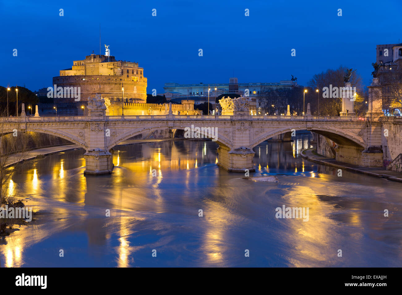 Castel Sant'Angelo and Ponte Vittorio Emanuelle II on the River Tiber at night, Rome, Lazio, Italy, Europe - Stock Image
