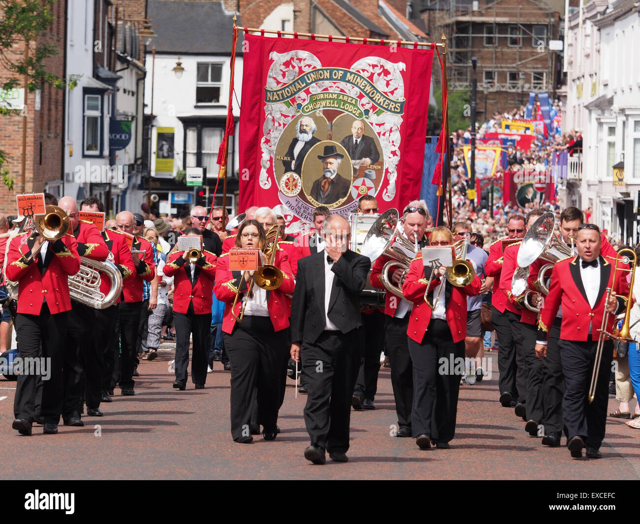 Durham, UK. 11th July, 2015. Parade of bands and banners at the Durham Miners Gala.Stock Photo