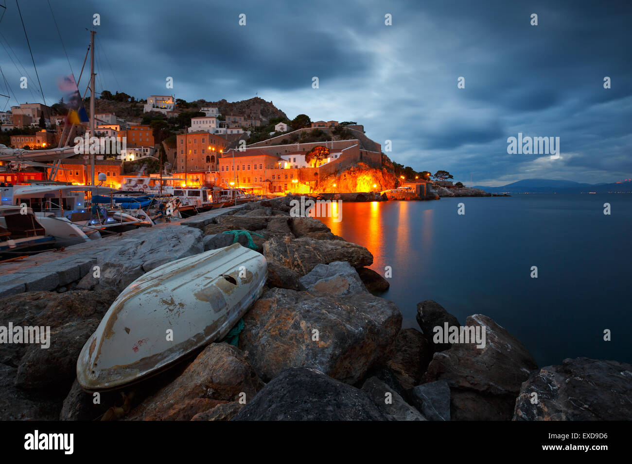 Seafront of the port of Hydra on an early morning - Stock Image