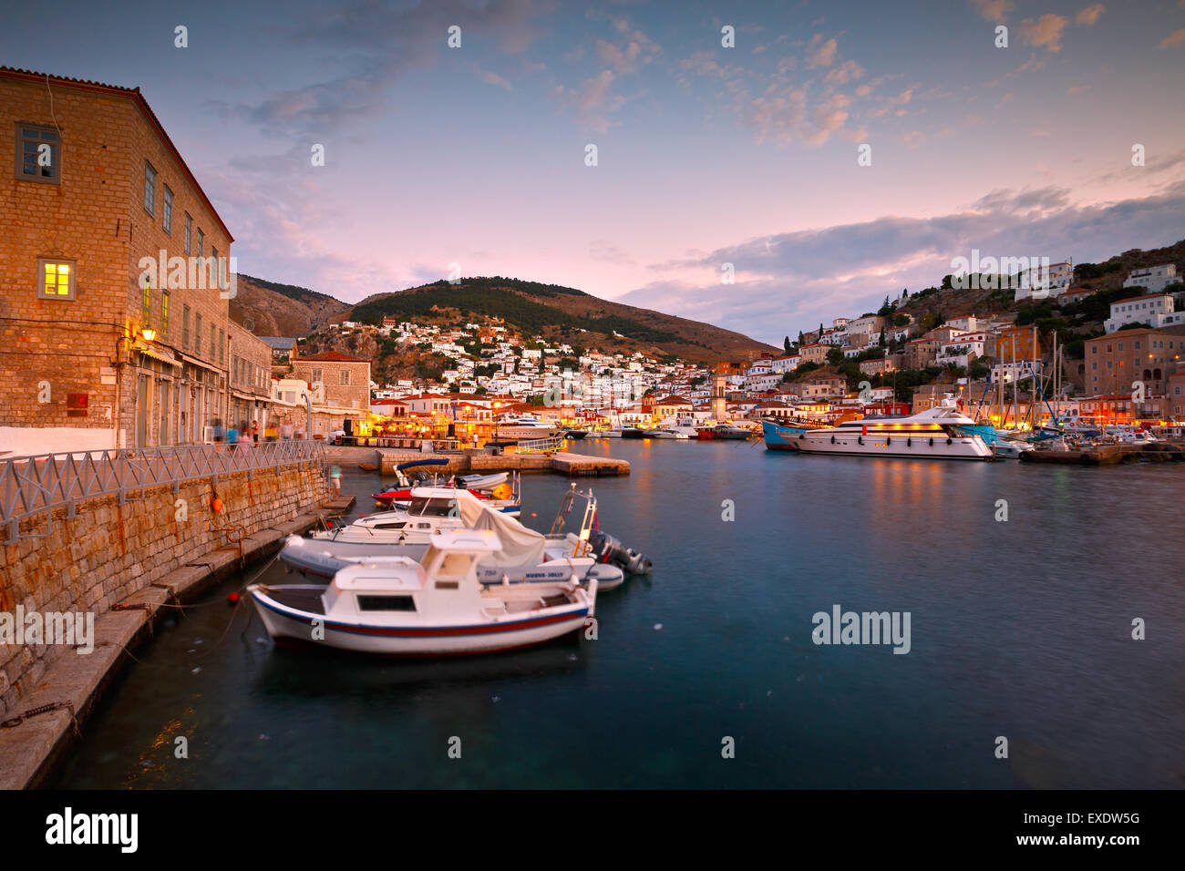 Evening view of the boats in port of Hydra - Stock Image