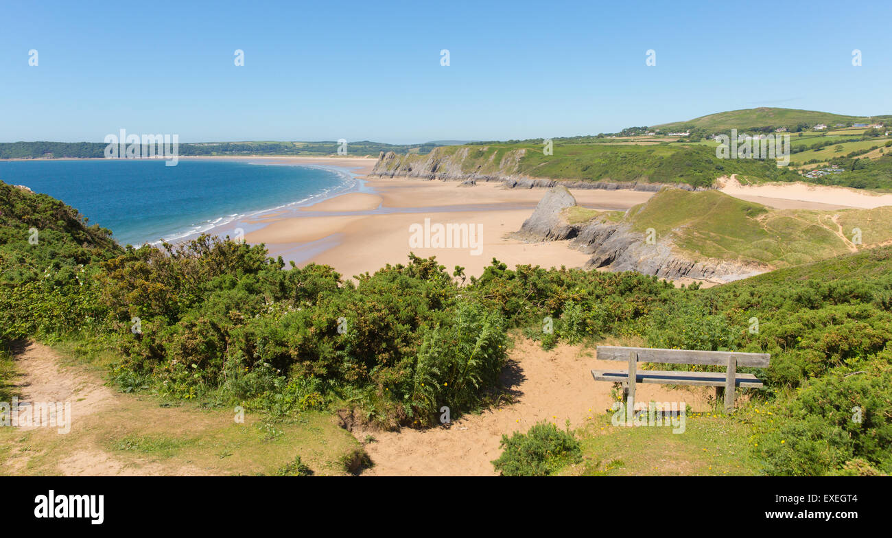 The Gower Peninsula Wales uk Pobbles beach next to Three Cliffs Bay in summer with blue sky Stock Photo