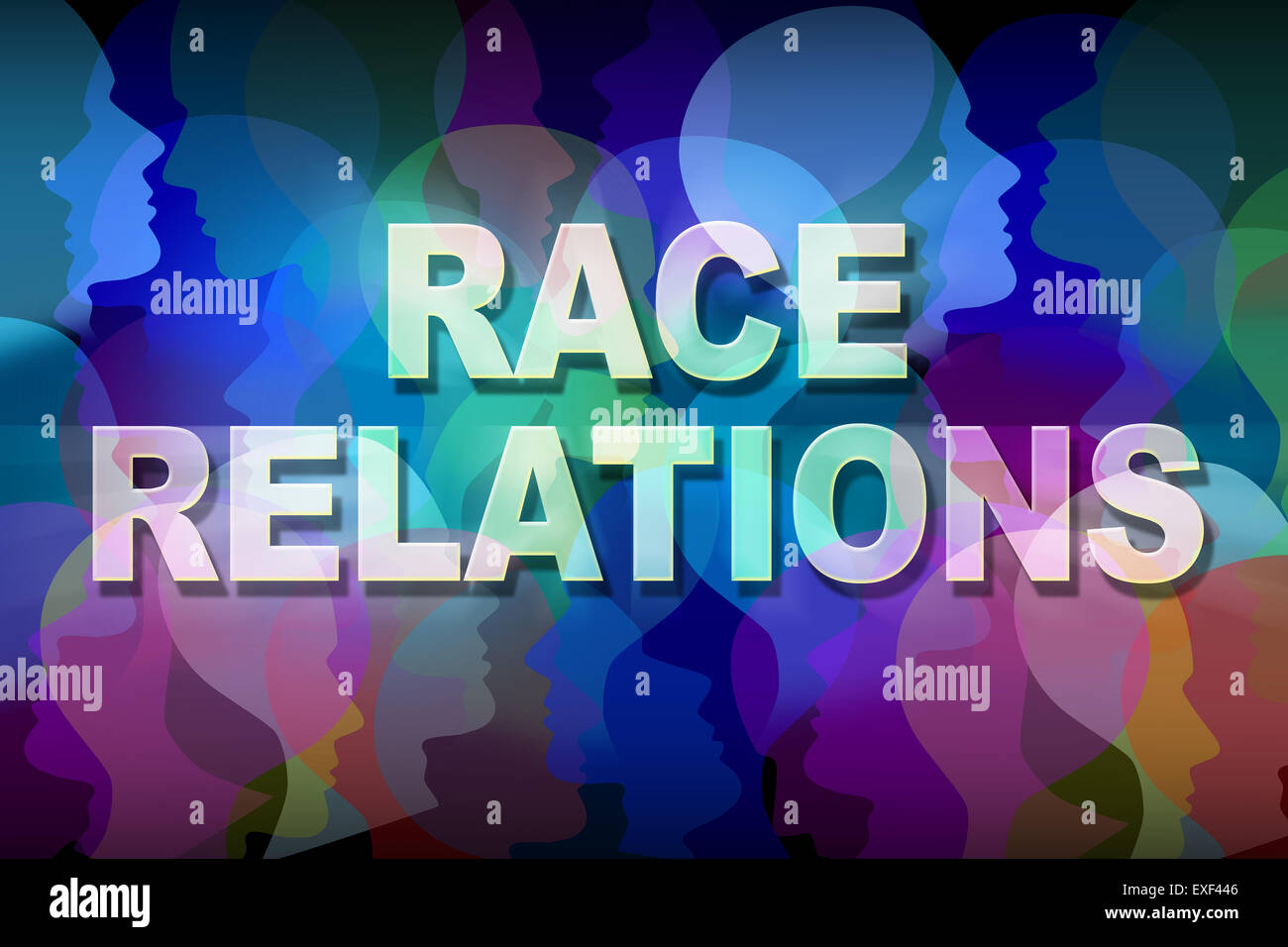 Race Relations Social Issue Concept As A Group Of People Heads And
