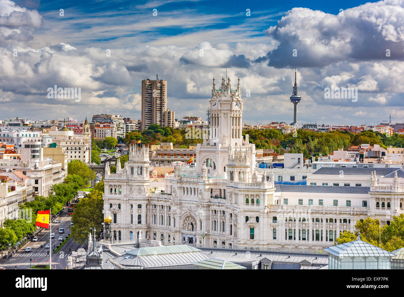 Madrid, Spain cityscape with Communication Palace and Torrespana Tower. Stock Photo