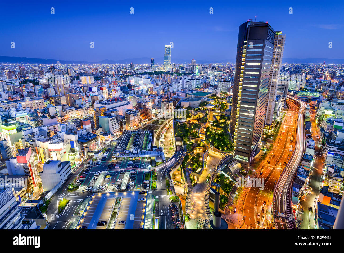 Osaka, Japan city skyline overlooking Namba District. - Stock Image