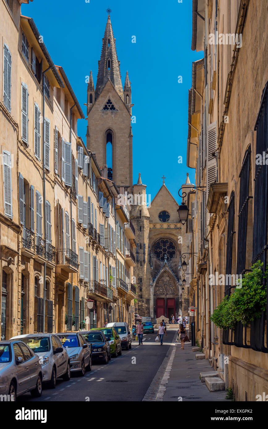 Street in the historical Quartier Mazarin district with St. Jean de Malte church in the background, Aix-en-Provence, - Stock Image