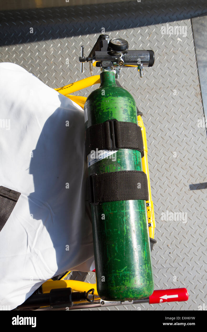 Ambulance, rural volunteer fire department, equipment Stock Photo