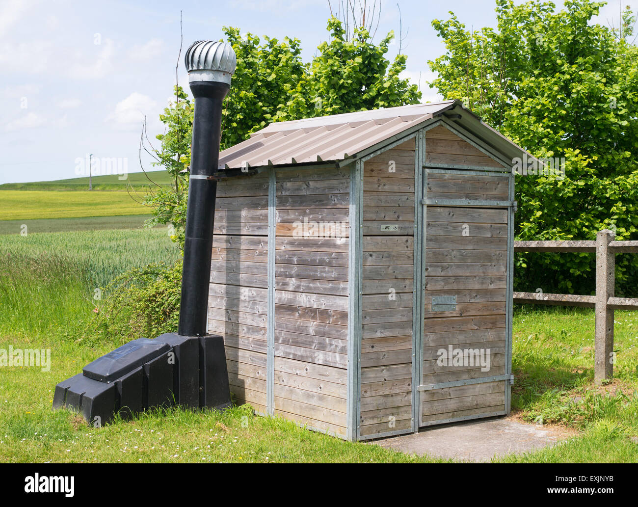 An Enviro Loo or environmentally friendly composting toilet seen on the Greenway or Avenue Verte near Dieppe, France, - Stock Image