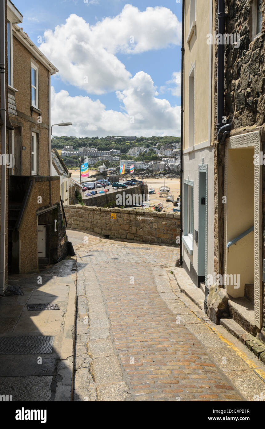 The view from Wheal Dream towards Smeatons Pier, St Ives, Cornwall, England, U.K. - Stock Image