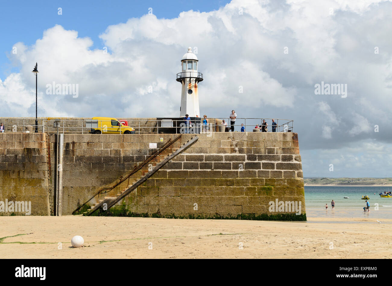 Smeatons Pier, St Ives, Cornwall, England, UK at low tide. - Stock Image