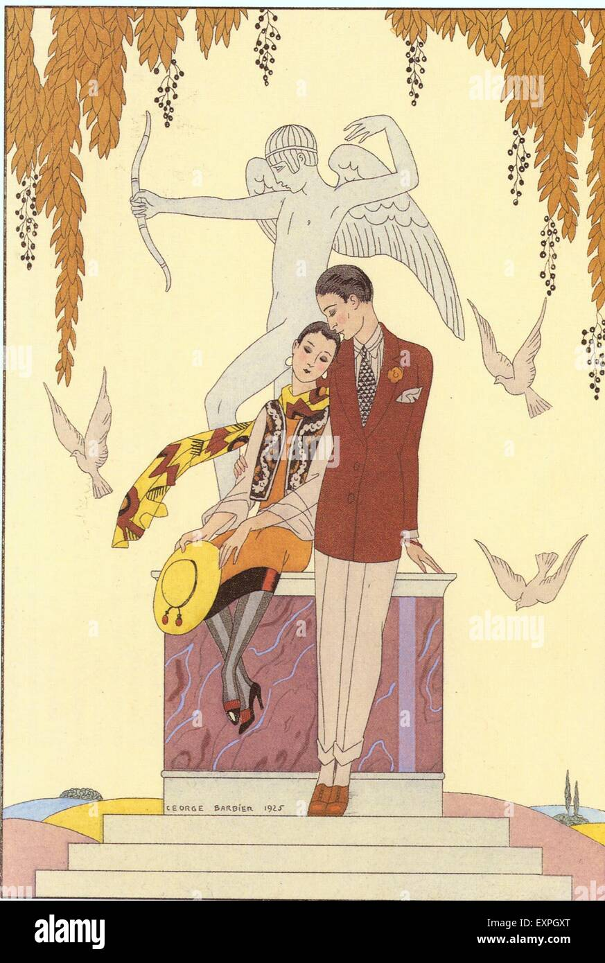 1920s France George Barbier Magazine Plate - Stock Image