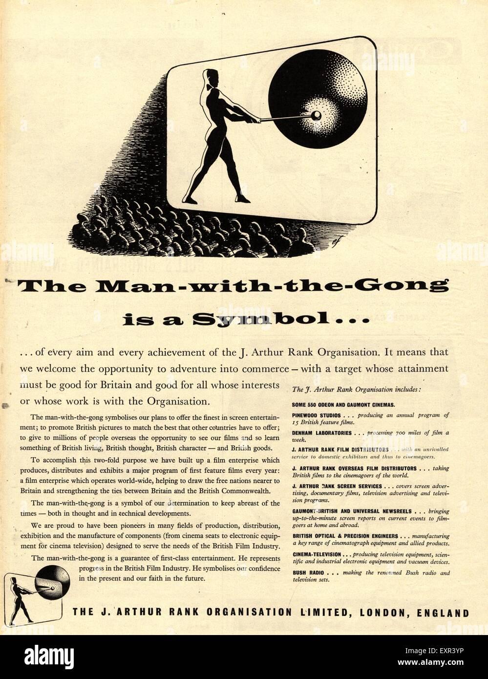 1950s UK Rank Magazine Advert - Stock Image