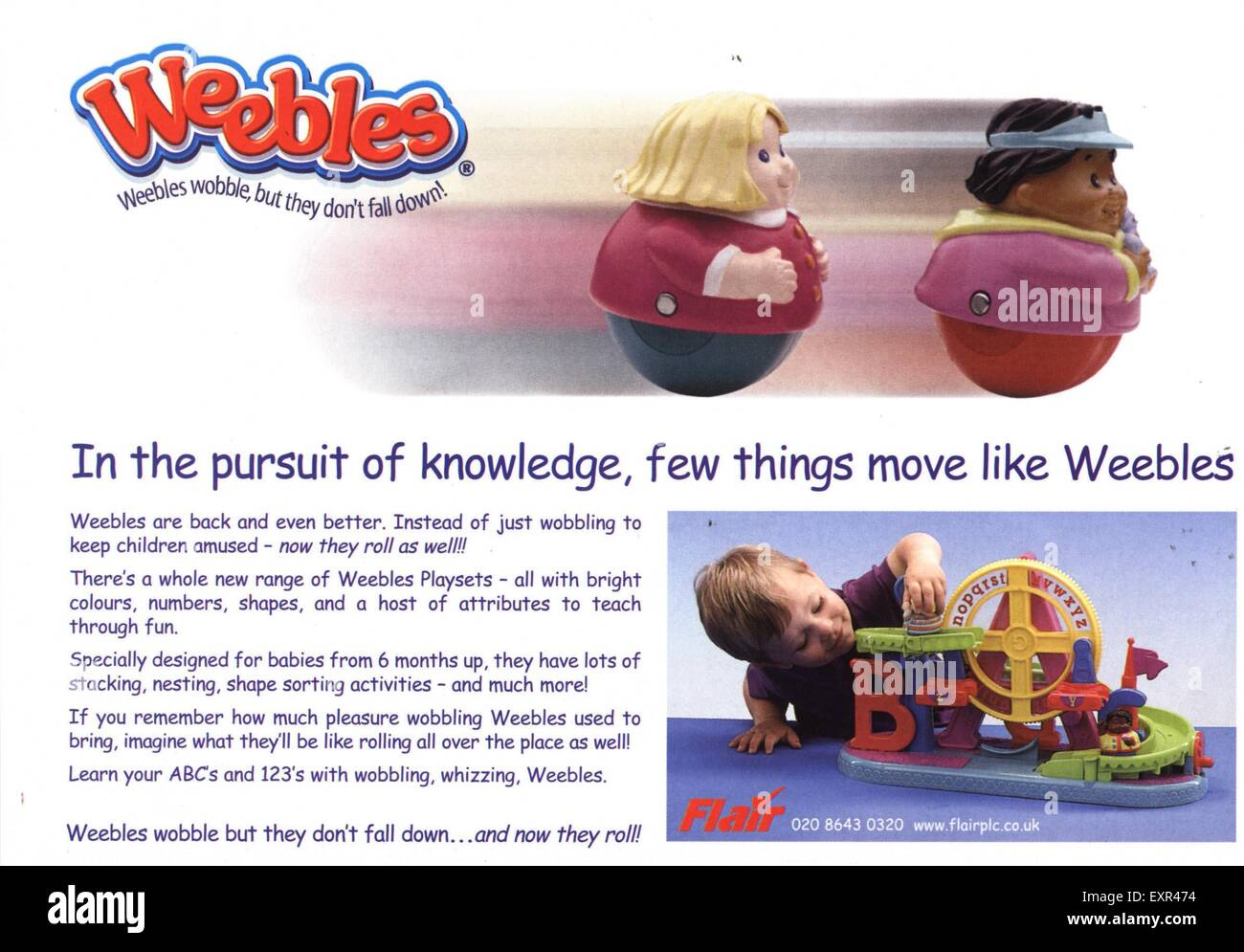 1990s UK Weebles Magazine Advert - Stock Image