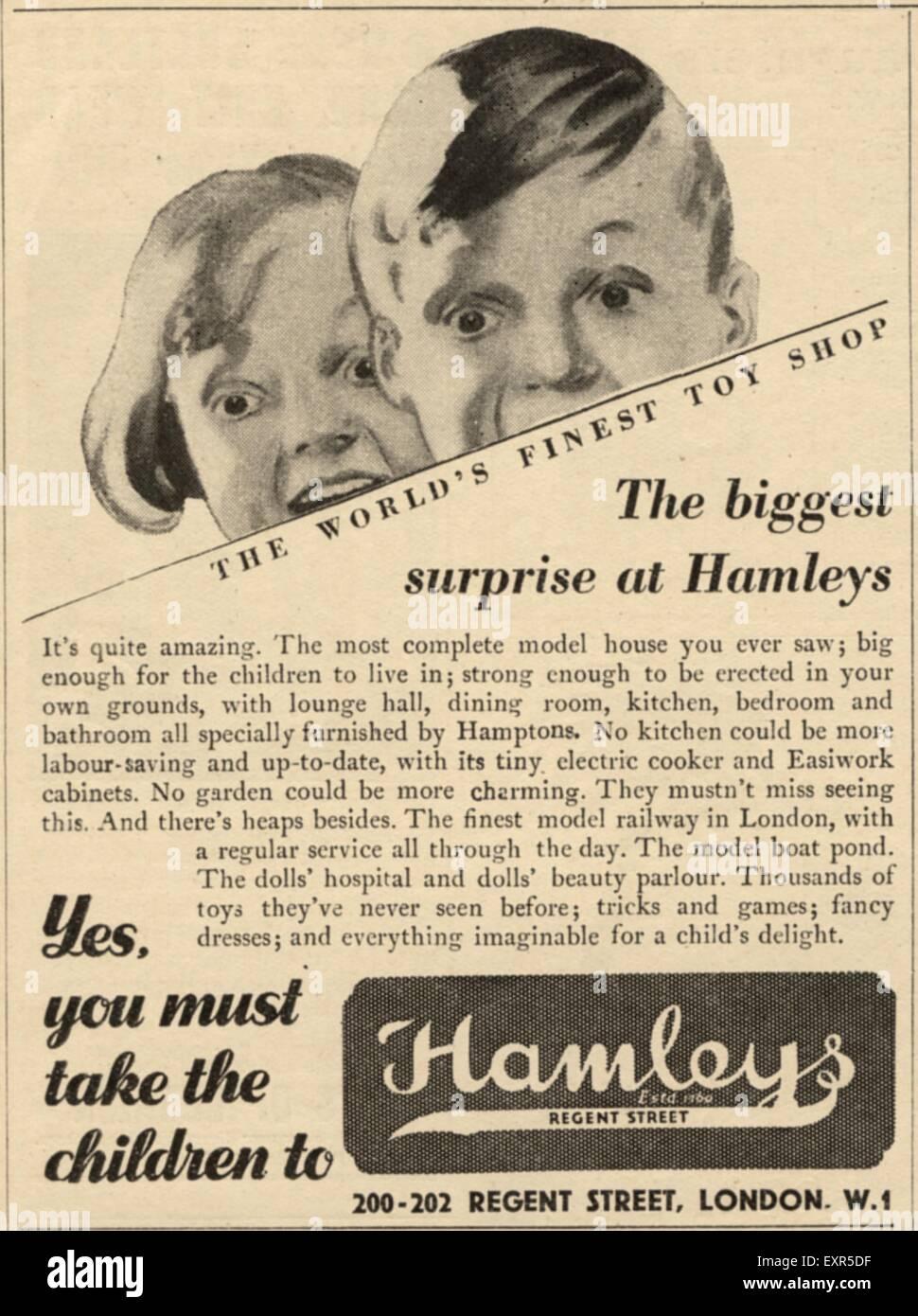 1950s UK Hamley's Magazine Advert - Stock Image