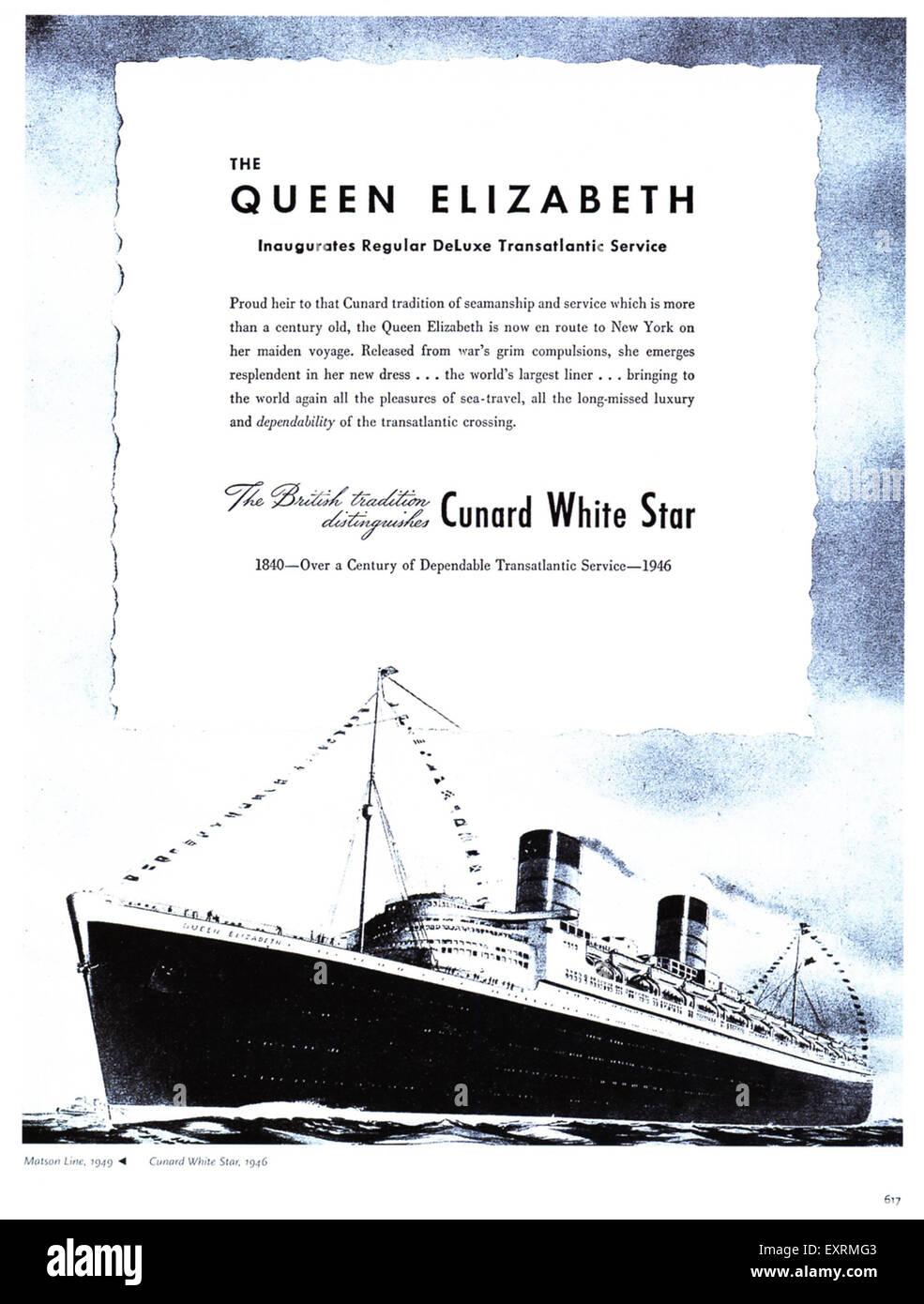 Cunard Magazine Advert - Stock Image