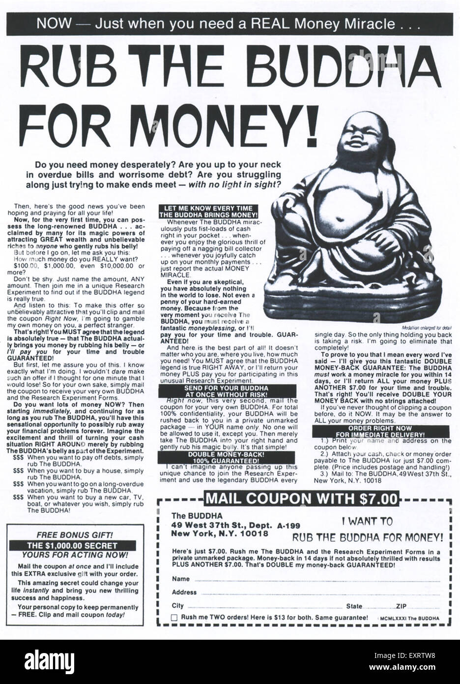 1980s USA Buddha Magazine Advert - Stock Image
