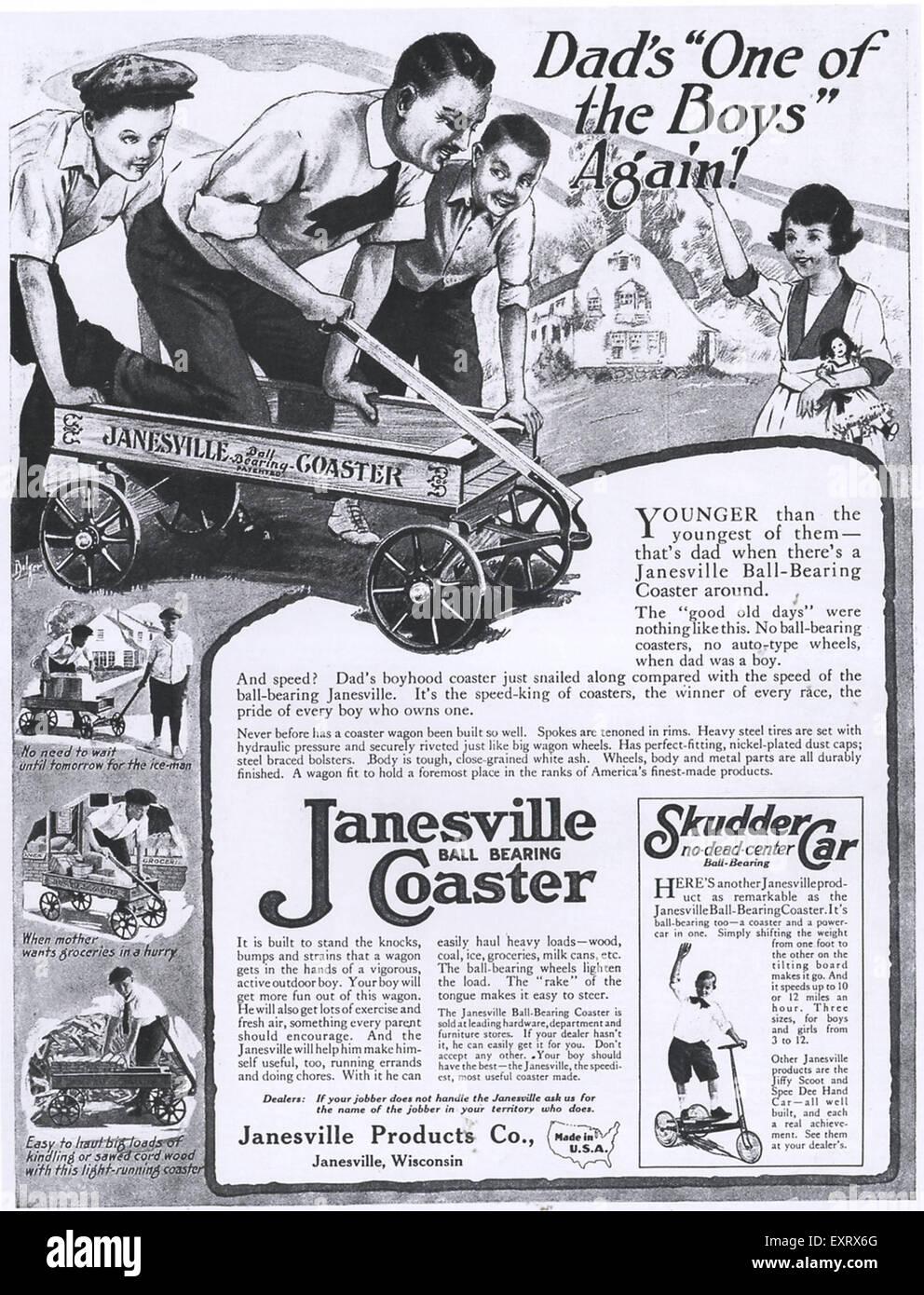 1910s USA Janesville Magazine Advert - Stock Image