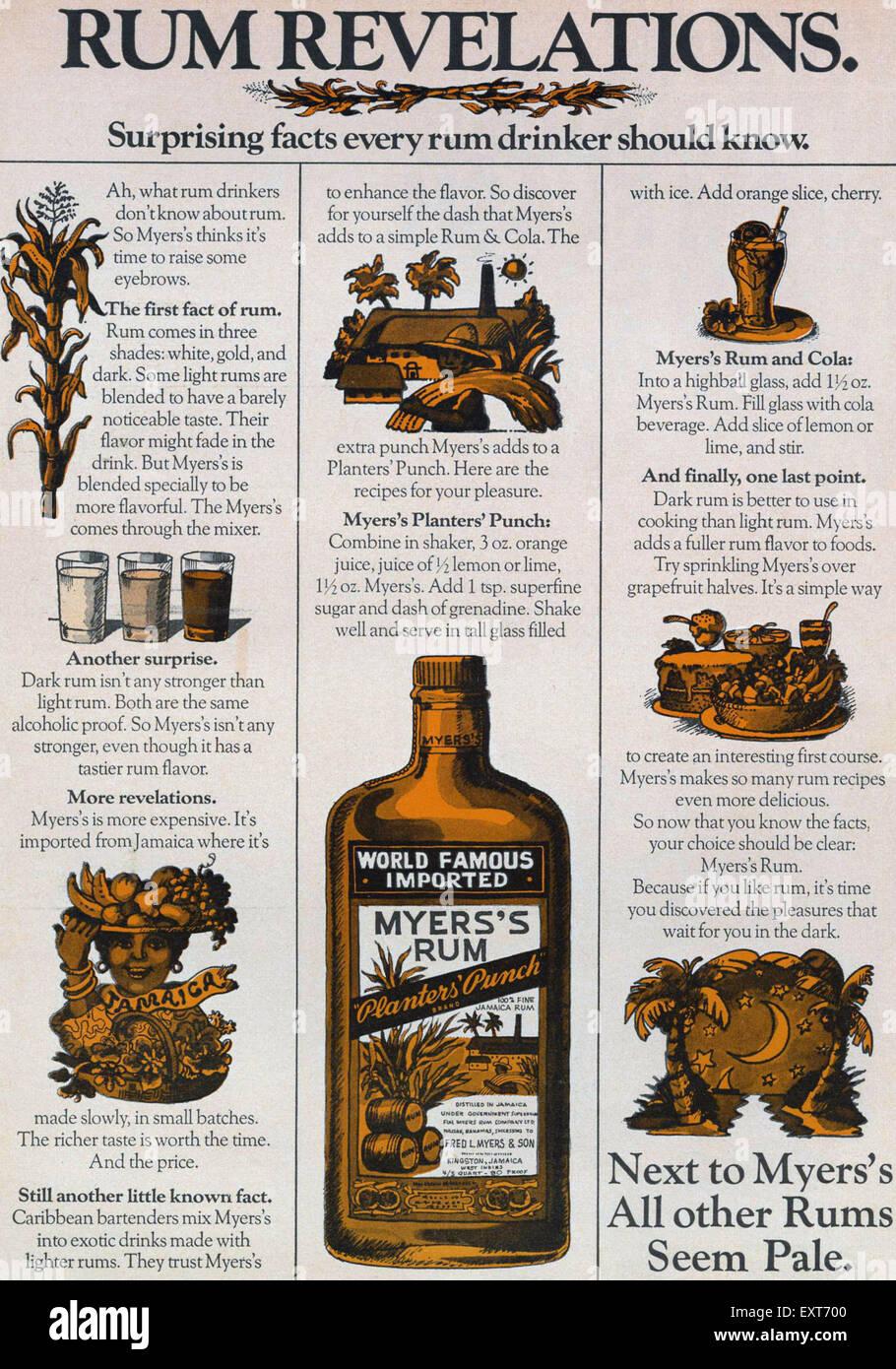 USA Myers's Magazine Advert - Stock Image