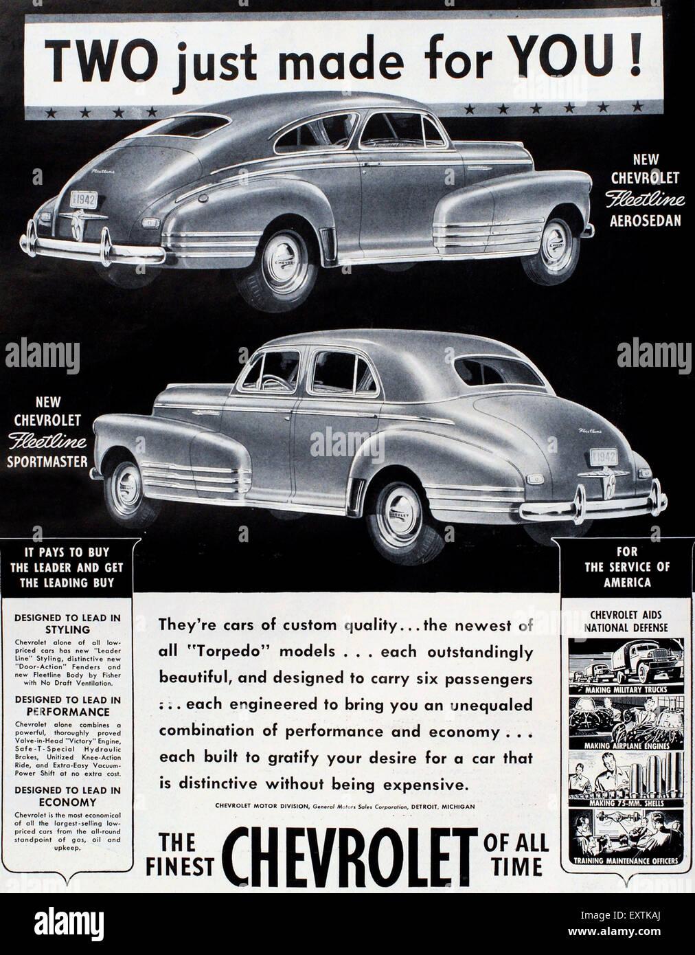 USA Chevrolet Magazine Advert - Stock Image