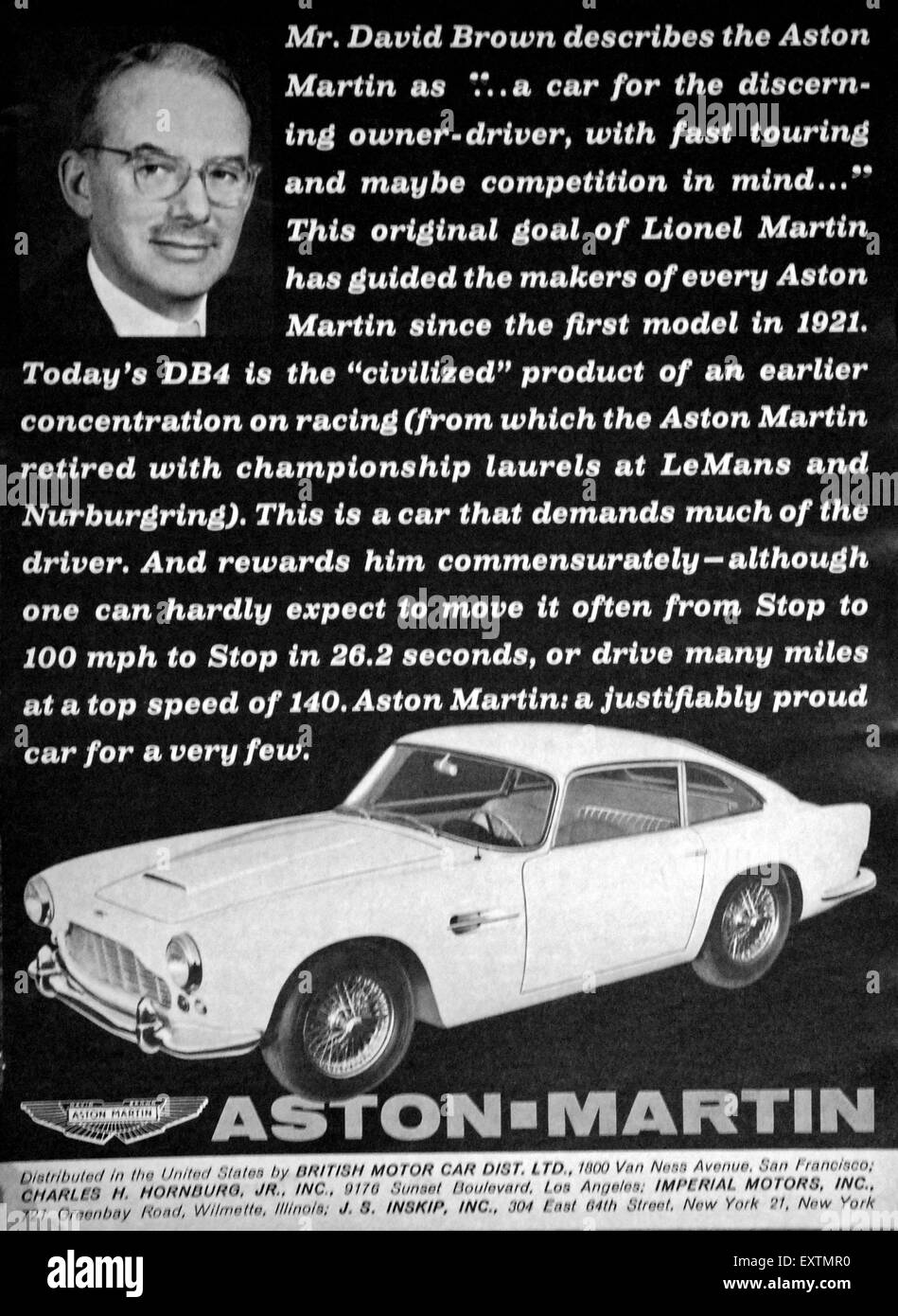 1960s usa aston martin magazine advert stock photo: 85365700 - alamy