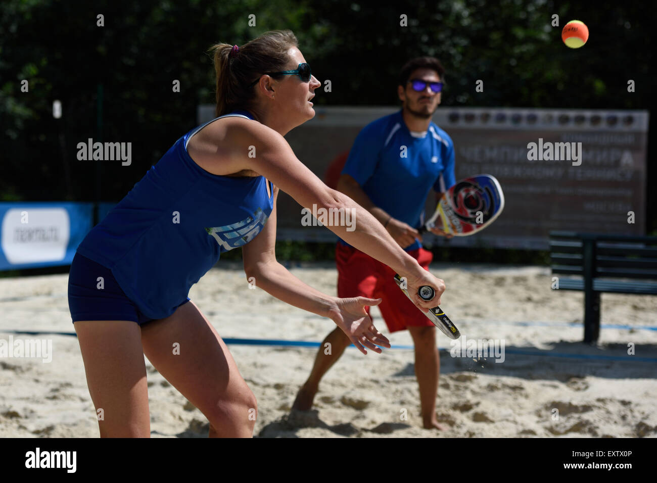 Moscow, Russia, 16th July, 2015. Mixed double Suzy Madge and Yiannis Toumazis of Great Britain in the match against Stock Photo