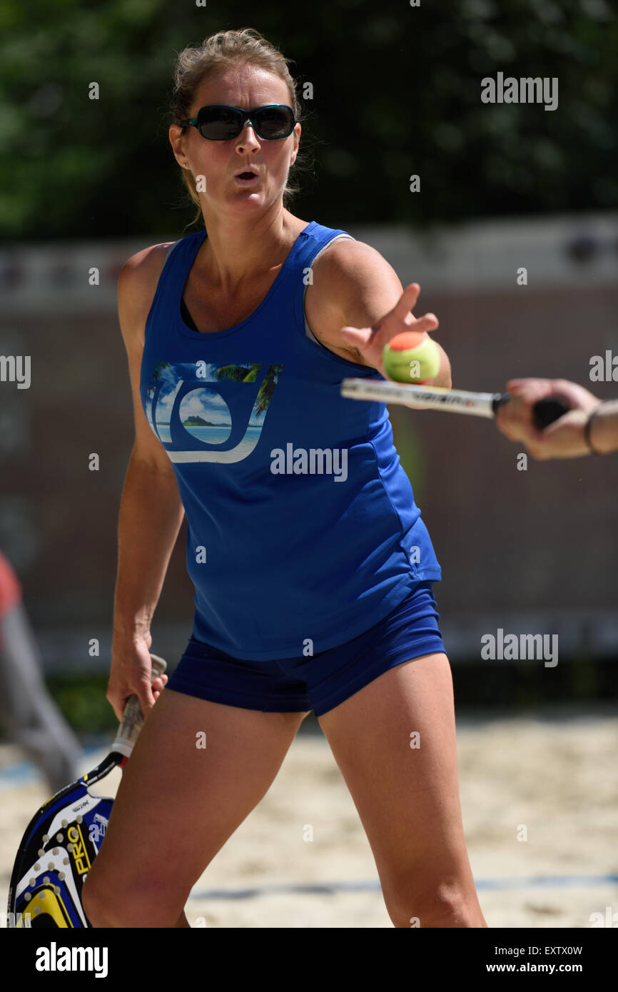 Moscow, Russia, 16th July, 2015. Suzy Madge of Great Britain in the mixed double match against Israel during the Stock Photo