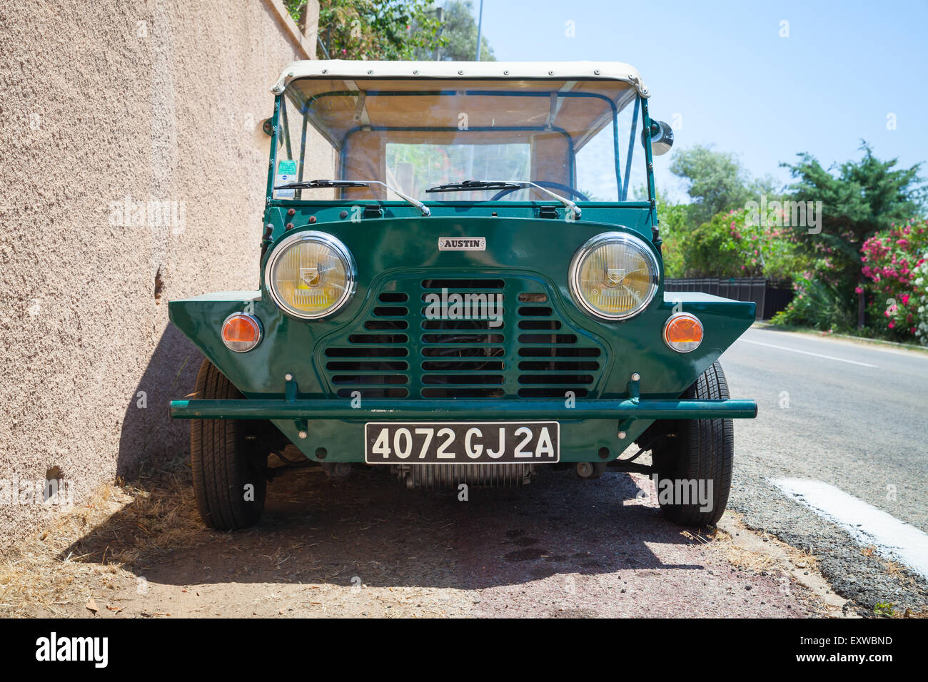 Ajaccio, France - July 7, 2015:  Austin Mini Moke 1967, vehicle based on the Mini designed for the British Motor - Stock Image
