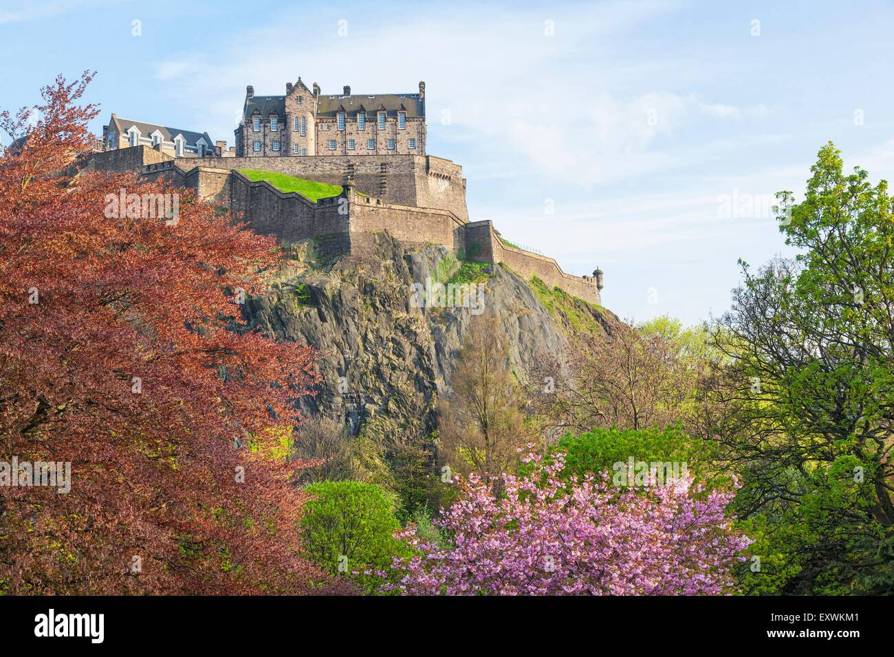 Princess Street Garden and Edinburgh Castle, Edinburgh, Scotland Stock Photo