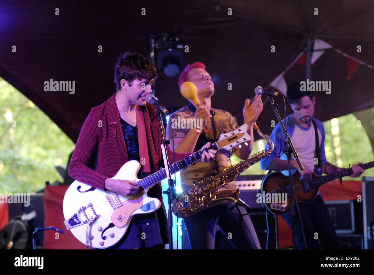 Henham Park, Southwold, Suffolk, UK. 17th July, 2015. Ezra Furman plays the Latitude Festival 2015 at the iArena - Stock Image