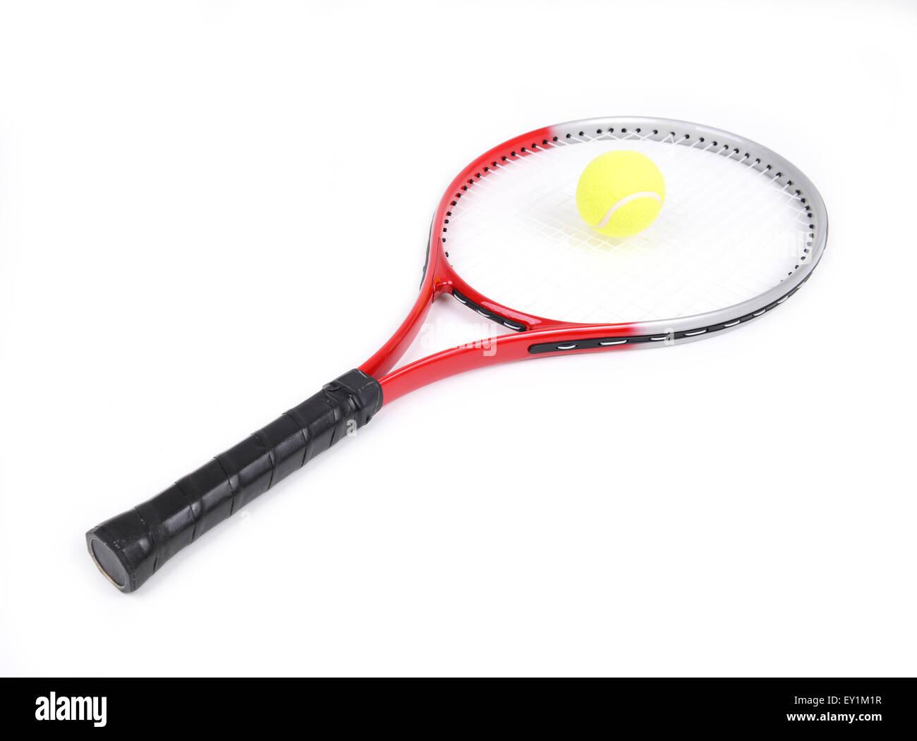 tennis racket isolated on  white background - Stock Image
