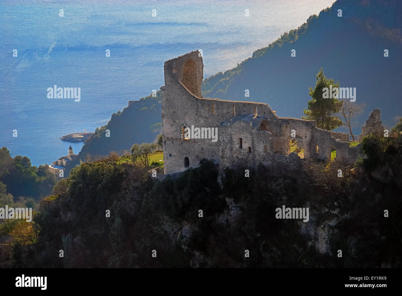 Village of Scala, Costiera Amalfitana, Campania, Italy. Torre dello Ziro (Ziro tower). The Ziro tower is a tower - Stock Image