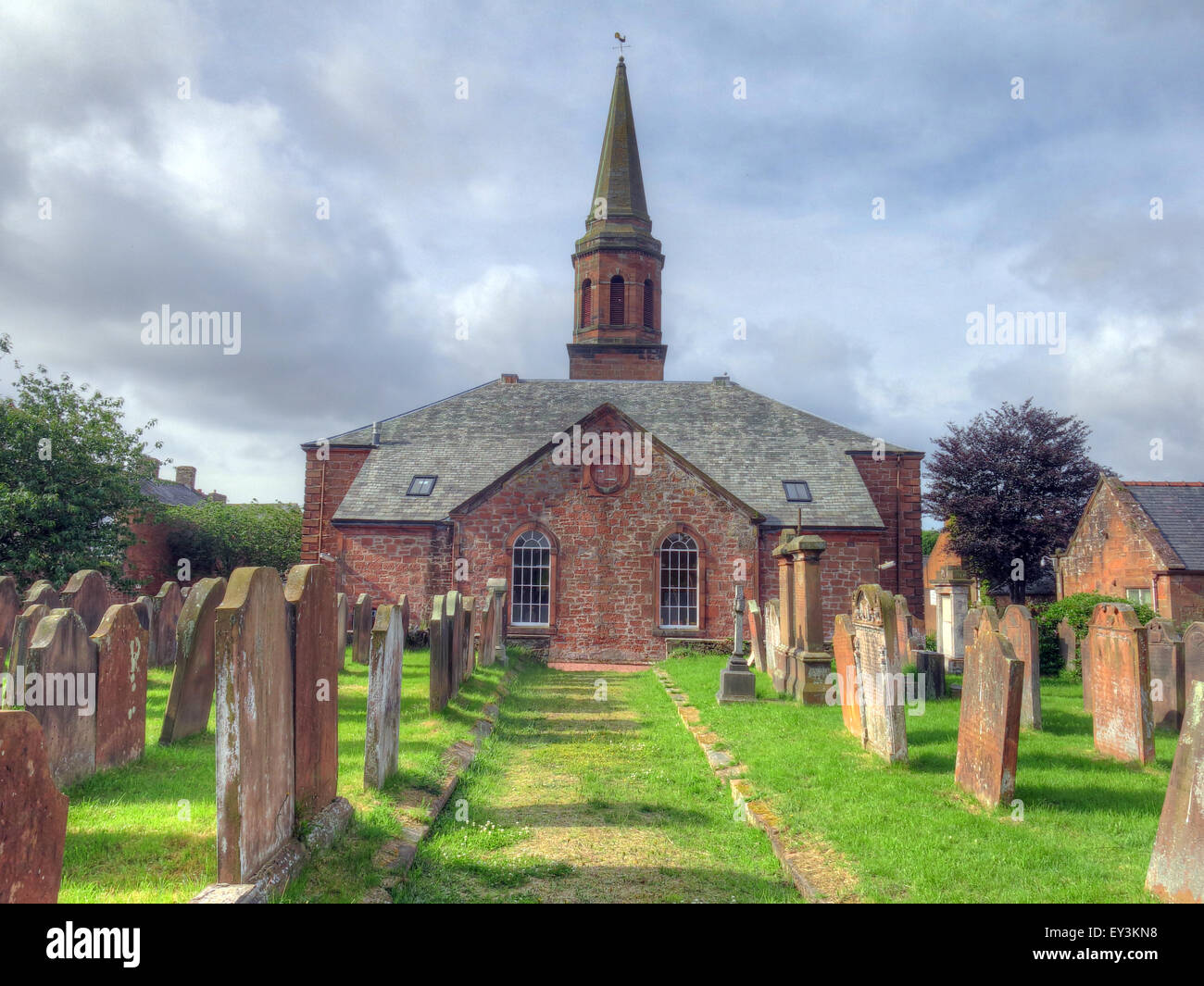 Annan,Old,Parish,Church,of,Scotland,Scottish,Churches,religion,Anglican,Anglicans,grave,graves,cross,wide,landscape,pano,panorama,tower,cemetery,GoTonySmith,Buy Pictures of,Buy Images Of
