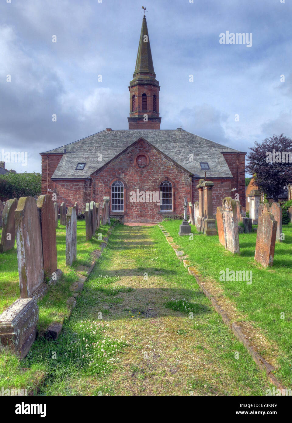 Annan,Old,Parish,Church,of,Scotland,Scottish,Churches,religion,Anglican,Anglicans,grave,graves,cross,wide,landscape,pano,landscape,summer,GoTonySmith,Buy Pictures of,Buy Images Of