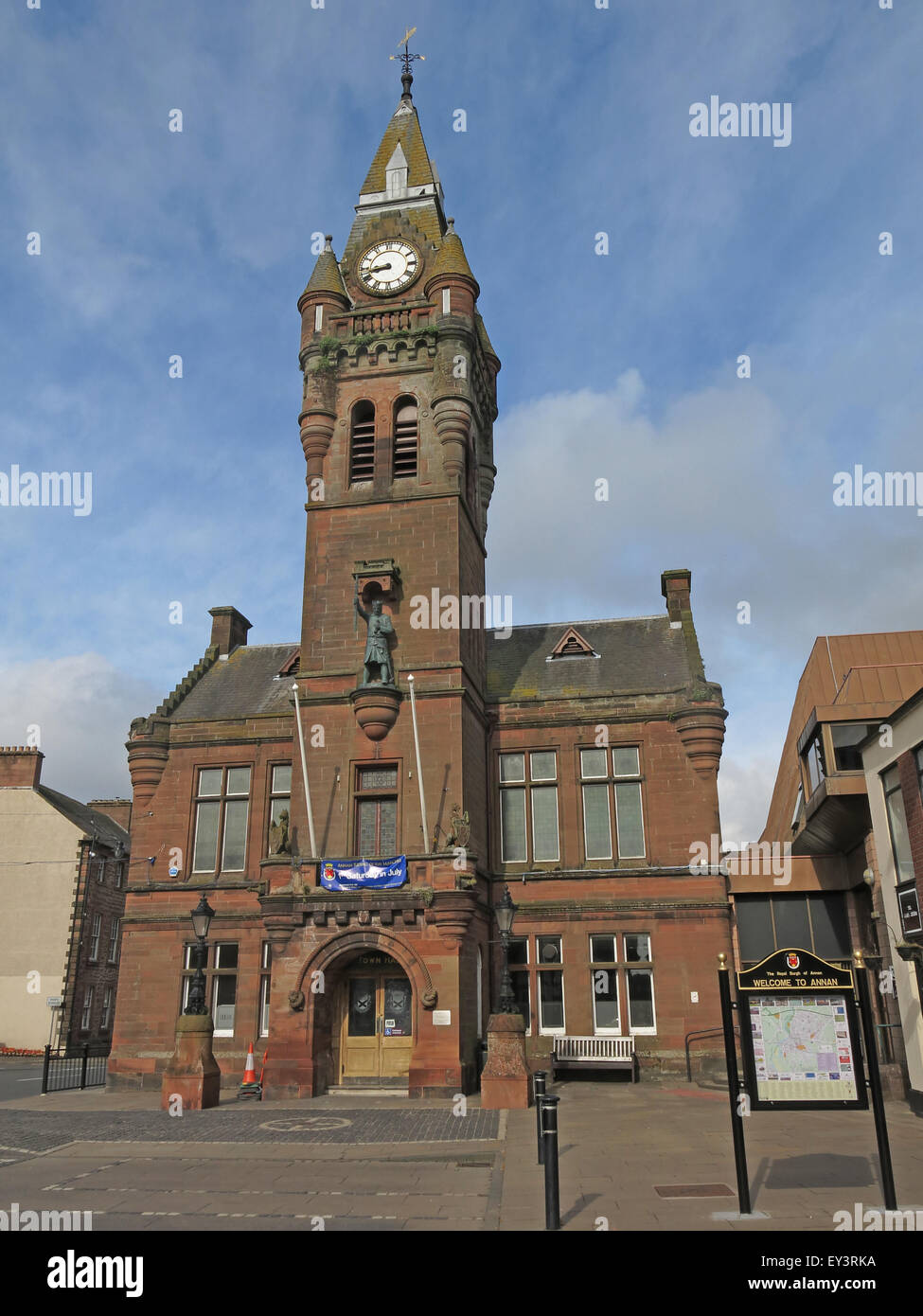 Annan town hall,Annan,Dumfries,&,Galloway,-,Municipal,buildings,Council,Offices,High,Street,Annan,DG12 6AQ,stone,historic,history,Victorian,royal,burgh,in,south-west,Scotland,sandstone,Dumfries and Galloway,GoTonySmith,Buy Pictures of,Buy Images Of