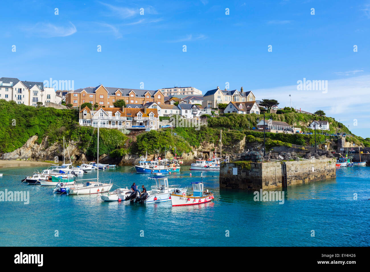 The harbour in Newquay, Cornwall, England, UK Stock Photo