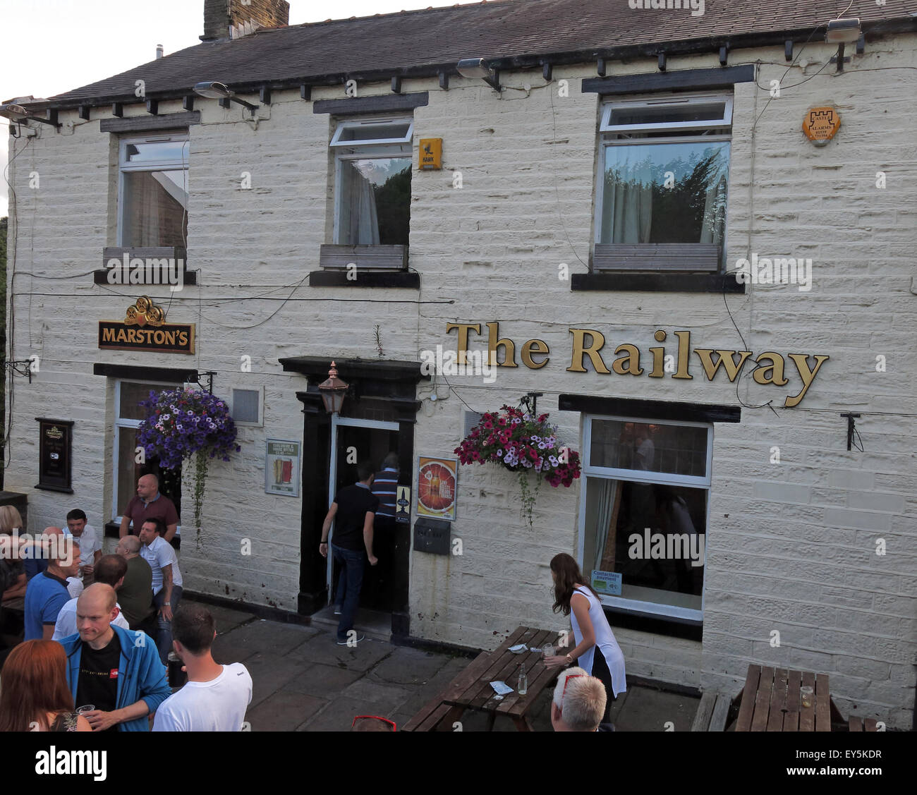 village,town,pub,bar,Marstons,station,Marsden Railway Station,railway,people,outside,exterior,Metropolitan,Borough,River Colne,Wessenden Brook,ale,CAMRA,real,real ale,England,UK,GB,Great Britain,aletrain,ale,train,transpennine,trans-pennine,trans,pennine,GoTonySmith,Buy Pictures of,Buy Images Of