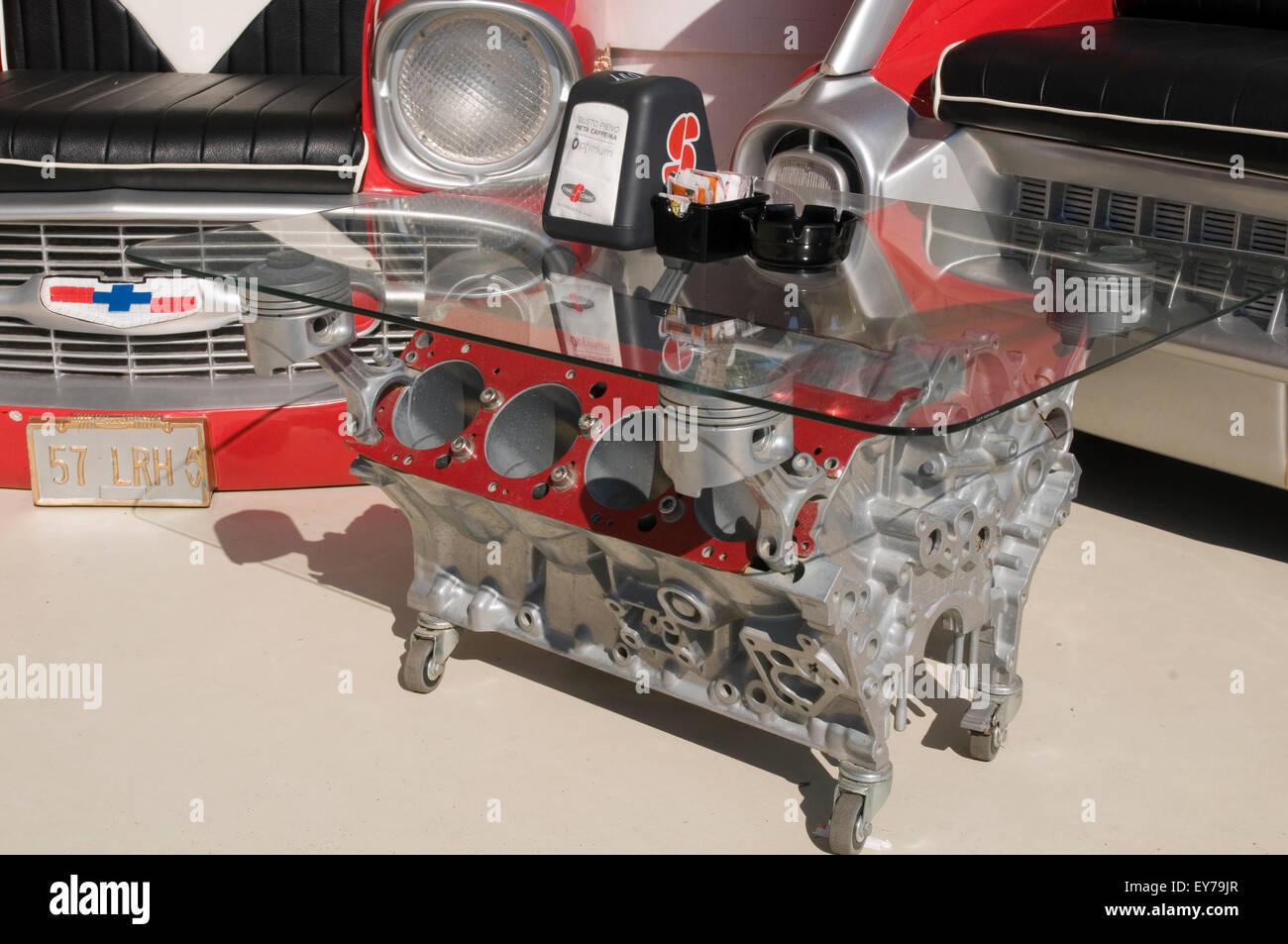 v8 engine coffee table tables block blocks petrolhead car enthusiast